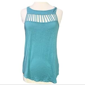 9 Double 0 Two 1 by Naked Zebra Blue Cut Out Top M